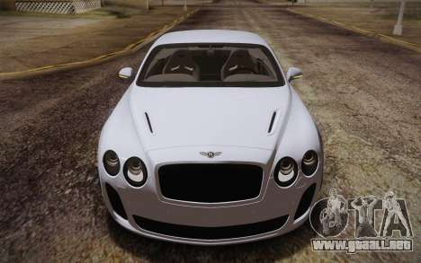 Bentley Continental SuperSports 2010 v2 Finale para visión interna GTA San Andreas