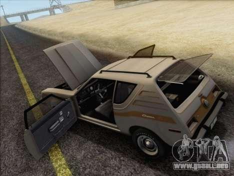 AMC Gremlin X 1973 para visión interna GTA San Andreas