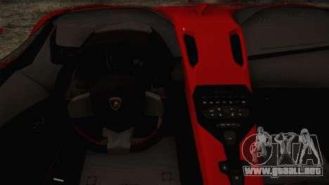 Lamborghini Aventandor J 2010 para GTA San Andreas vista hacia atrás