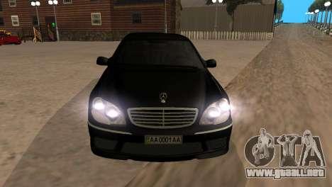 Mercedes-Benz S65 AMG para visión interna GTA San Andreas