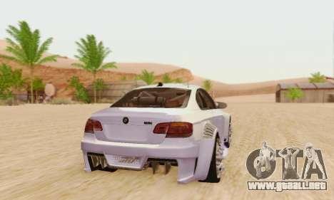 BMW M3 E92 SHD Tuning para GTA San Andreas vista posterior izquierda
