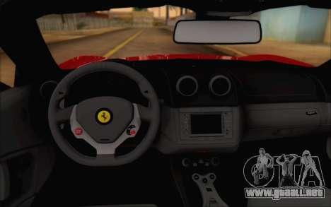 Ferrari California v2 para GTA San Andreas vista hacia atrás