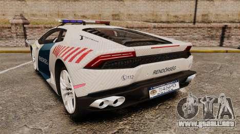 Lamborghini Huracan Hungarian Police [Non-ELS] para GTA 4 Vista posterior izquierda