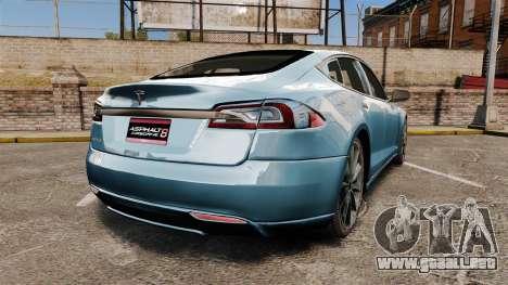 Tesla Model S para GTA 4 Vista posterior izquierda