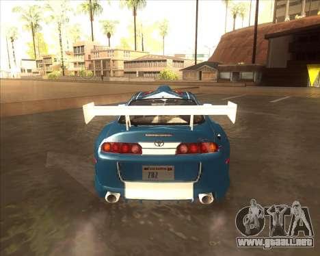 Toyota Supra из NFS most Wanted para GTA San Andreas vista posterior izquierda