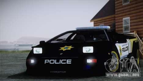 Lamborghini Diablo SV NFS HP Police Car para GTA San Andreas vista posterior izquierda