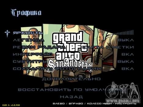 HD menús V.2.0 para GTA San Andreas tercera pantalla