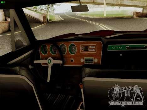 Pontiac GTO 1967 para GTA San Andreas vista hacia atrás