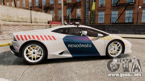 Lamborghini Huracan Hungarian Police [Non-ELS] para GTA 4 left