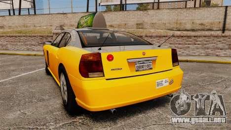 Bravado Buffalo Taxi para GTA 4 Vista posterior izquierda