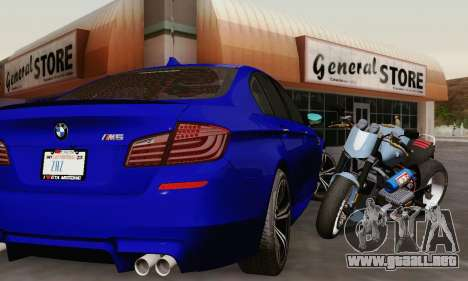 BMW F10 M5 2012 Stock para GTA San Andreas interior
