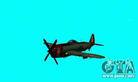 P-47 Thunderbolt para GTA San Andreas vista posterior izquierda
