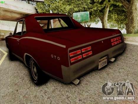 Pontiac GTO 1967 para GTA San Andreas vista posterior izquierda
