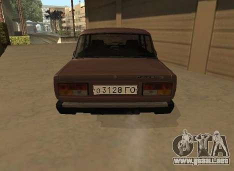 VAZ 2107 versión Temprana para GTA San Andreas vista posterior izquierda