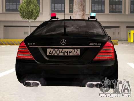 Mercedes-Benz S65 AMG 2012 para GTA San Andreas vista hacia atrás