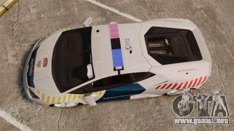 Lamborghini Huracan Hungarian Police [Non-ELS] para GTA 4 visión correcta