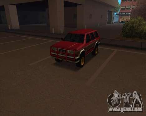 Landstalker V2 para GTA San Andreas vista hacia atrás