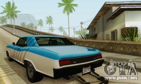 Gta 5 Bucanero actualizado para GTA San Andreas vista posterior izquierda