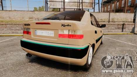 Citroen Xantia para GTA 4 Vista posterior izquierda