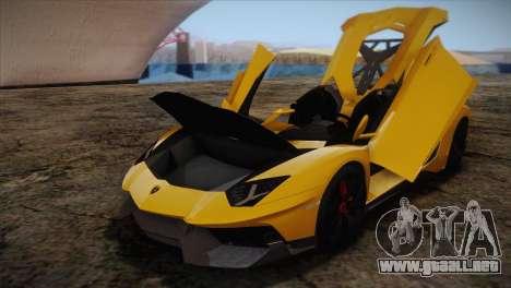 Lamborghini Aventandor J 2010 para vista lateral GTA San Andreas