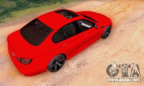BMW F10 M5 2012 Stock para la visión correcta GTA San Andreas