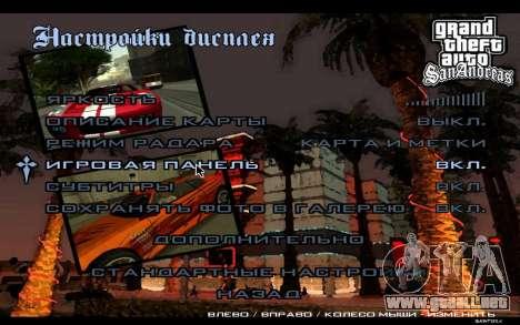 HD menús para GTA San Andreas sexta pantalla