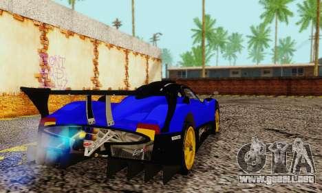 Pagani Zonda Type R Blue para GTA San Andreas vista posterior izquierda