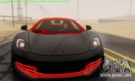 Mclaren MP4-12C Spider Sonic Blum para GTA San Andreas vista hacia atrás