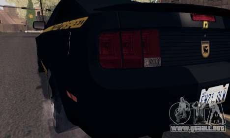 Ford Mustang Shelby Terlingua 2008 NFS Edition para GTA San Andreas interior