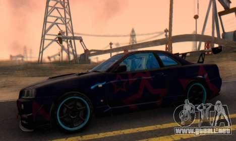 Nissan Skyline GTR 34 Blue Star para GTA San Andreas vista hacia atrás