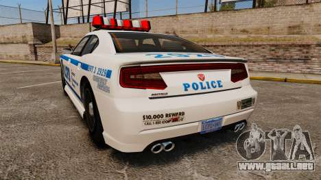 GTA V Bravado Buffalo LCPD para GTA 4 Vista posterior izquierda