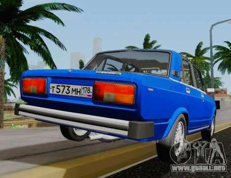VAZ 2105 Riva para GTA San Andreas vista posterior izquierda