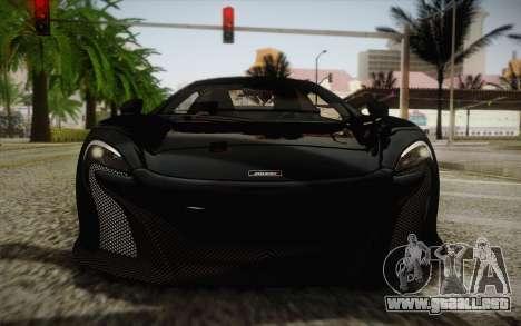 McLaren 650S Spider 2014 para vista lateral GTA San Andreas