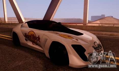 Bertone Mantide 2010 Hard Rock Cafe para GTA San Andreas vista hacia atrás