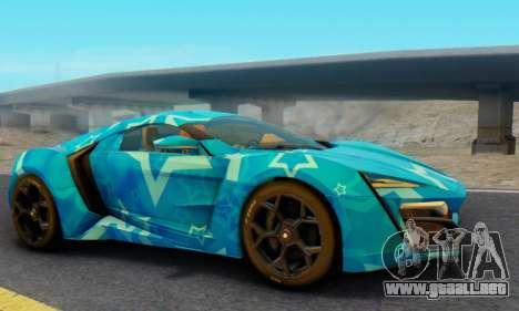 W-Motors Lykan Hypersport 2013 Blue Star para la visión correcta GTA San Andreas