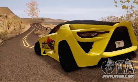 Bertone Mantide 2010 Rock Generation para GTA San Andreas vista posterior izquierda