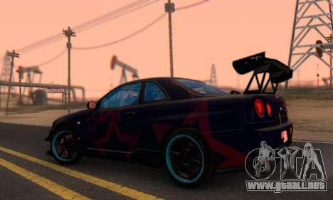 Nissan Skyline GTR 34 Blue Star para la visión correcta GTA San Andreas