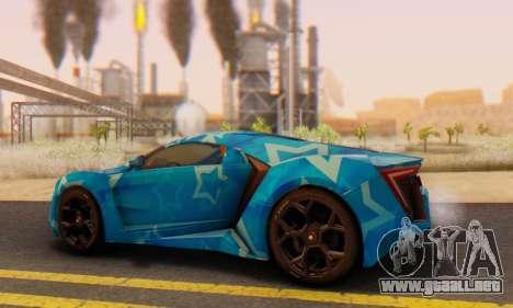 W-Motors Lykan Hypersport 2013 Blue Star para visión interna GTA San Andreas