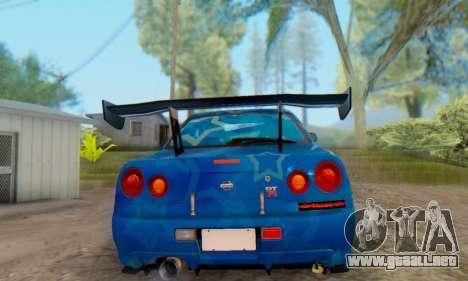 Nissan Skyline GTR 34 Blue Star para GTA San Andreas vista posterior izquierda
