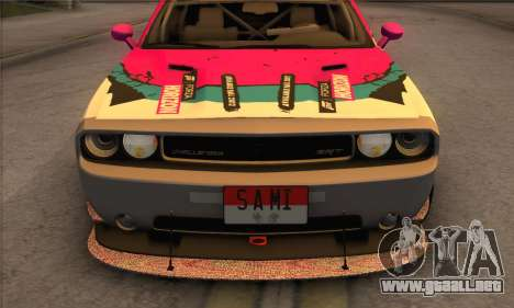 Dodge Challenger SRT8 2012 para vista lateral GTA San Andreas