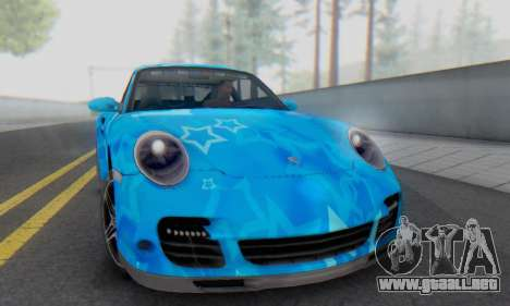 Porsche 911 Turbo Blue Star para GTA San Andreas left