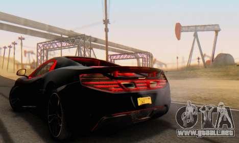 Mclaren MP4-12C Spider Sonic Blum para GTA San Andreas vista posterior izquierda