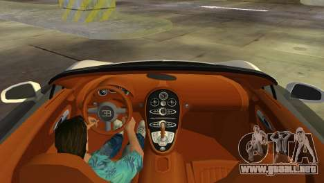 Bugatti Veyron Grand Sport Vitesse para GTA Vice City vista interior