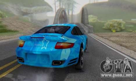 Porsche 911 Turbo Blue Star para GTA San Andreas vista posterior izquierda