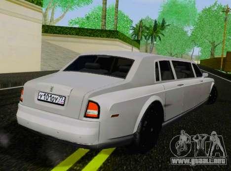 Rolls-Royce Phantom Limo para GTA San Andreas vista posterior izquierda