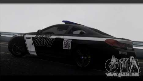 BMW M6 Coupe Redview Police para GTA San Andreas left