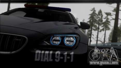 BMW M6 Coupe Redview Police para GTA San Andreas vista posterior izquierda