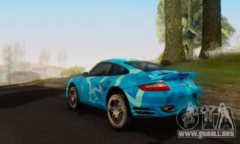 Porsche 911 Turbo Blue Star para GTA San Andreas vista hacia atrás