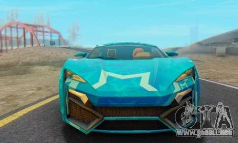 W-Motors Lykan Hypersport 2013 Blue Star para GTA San Andreas vista posterior izquierda