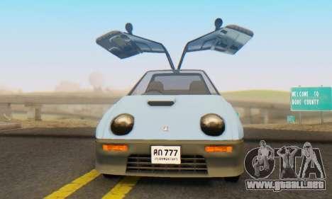Mazda Autozam AZ-1 para GTA San Andreas vista hacia atrás